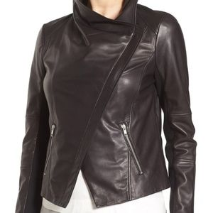 TROUVE Draped Black Leather Jacket